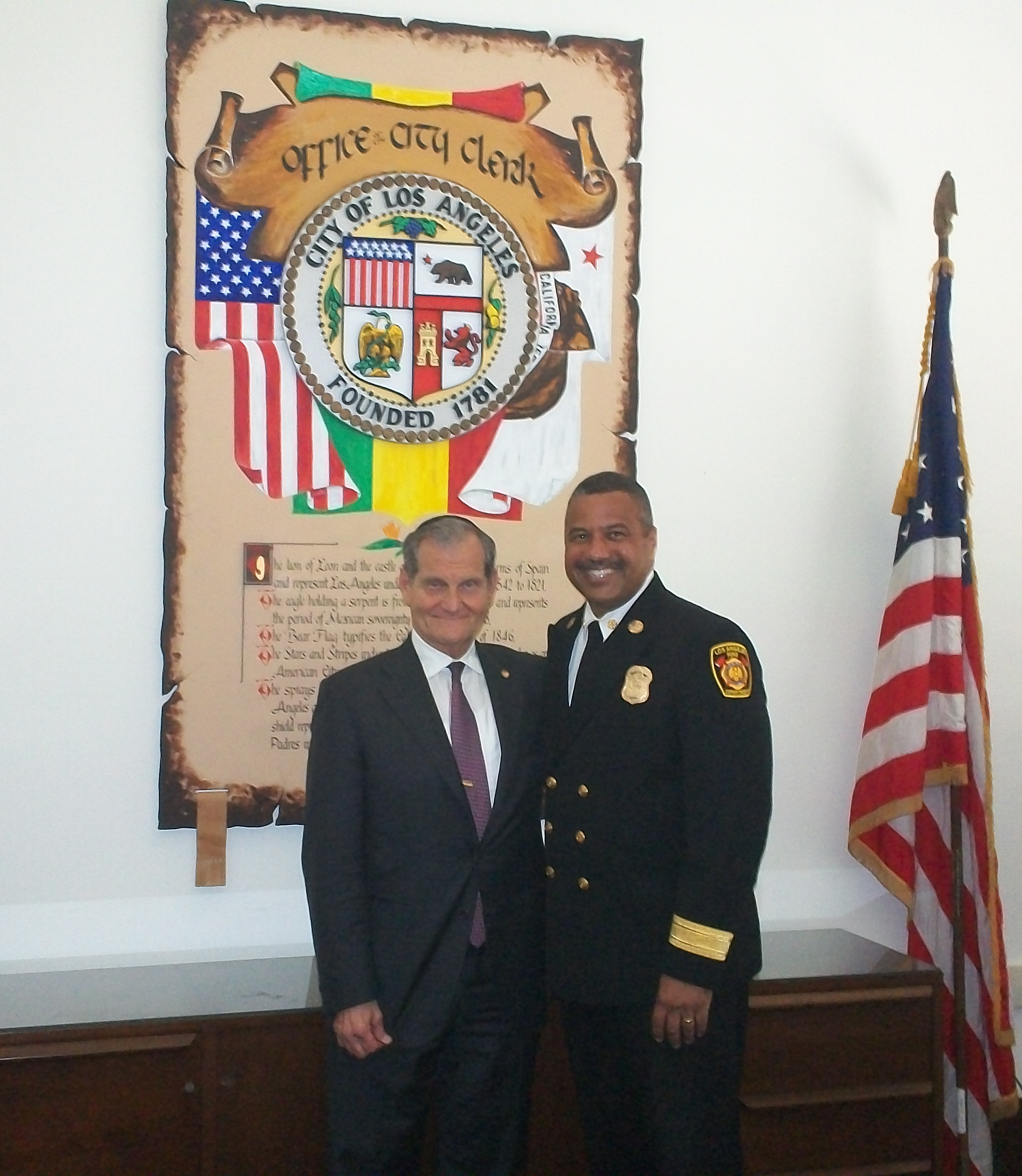 Andrew Friedman with LAFD Chief Cummings