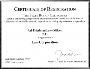 California Bar Certificate